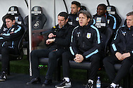 Remi Garde © the Aston Villa manager looks at his watch. Barclays Premier league match, Swansea city v Aston Villa at the Liberty Stadium in Swansea, South Wales on Saturday 19th March 2016.<br /> pic by  Andrew Orchard, Andrew Orchard sports photography.