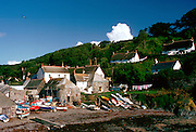 Boats on the beach in the fishing village of Cadgwith in Cornwall, South West England