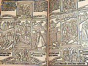 Blockbook Bible for the poor circa 1465. Each page was printed from a single woodblock, a method that was used for works in high demand. Although this is called a bible for the poor with scenes from Christ's life paralleled by ones from the Old Testament.