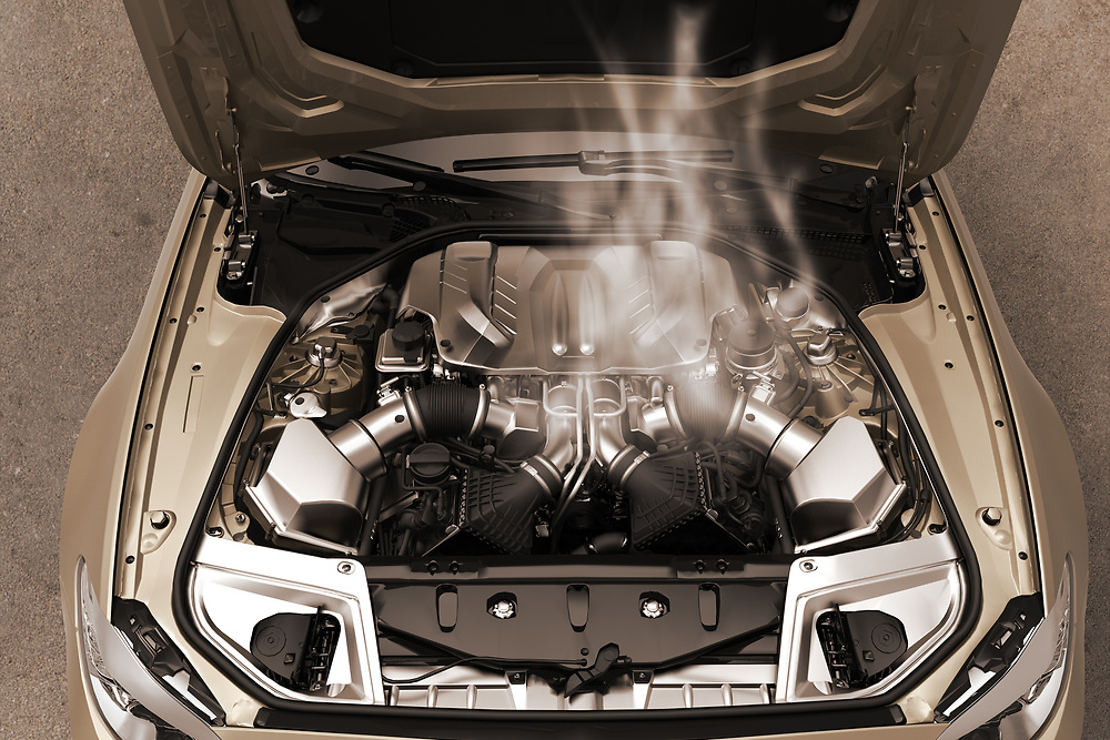 3D rendering of a car engine with smoke