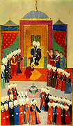 Mehmet II (March 30, 1432 – May 3, 1481) (also known as el-F?ti? 'the Conqueror' Sultan of the Ottoman Empire (Rûm until the conquest) for a short time from 1444 to September 1446, and later from February 1451 to 1481. English: Accession of Mehmet II in Edirne 1451.