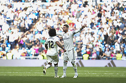 October 20, 2018 - Madrid, Madrid, Spain - Marcelo and Sergio Ramos of Real Madrid celebrate after the goal during a match for the Spanish League between Real Madrid and Levante at Santiago Bernabeu Stadium on October 20, 2018 in Madrid, Spain. (Credit Image: © Patricio Realpe/NurPhoto via ZUMA Press)