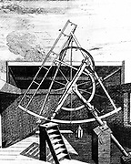 Flamsteed's equatorially mounted sextant fitted with telescope. Side showing gearing for aligning sextant. Flamsteed was the first Astronomer Royal. From 'Historia Coelestis Britannica'  John Flamsteed (London 1725). Engraving.