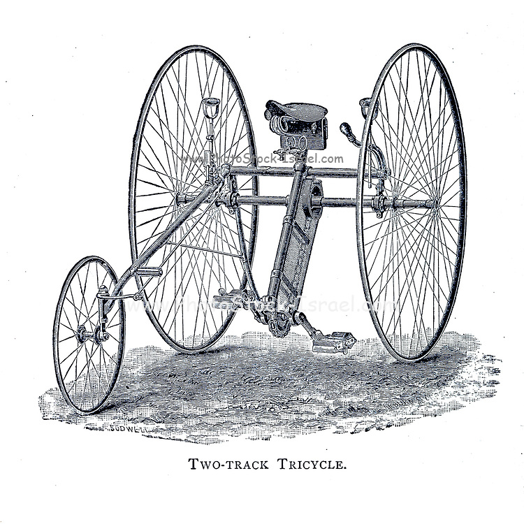 Two-Track Tricycle From Wheels and Wheeling; An indispensable handbook for cyclists, with over two hundred illustrations by Porter, Luther Henry. Published in Boston in  1892