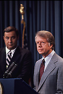 President Jimmy Carter and Bert Lance in the White House briefing room<br /> Photo by Dennis Brack