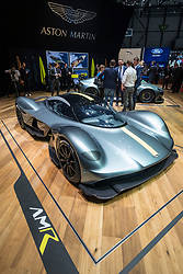 World premiere of Aston Martin AMR Valkyrie super car at Geneva International Motor Show 2017