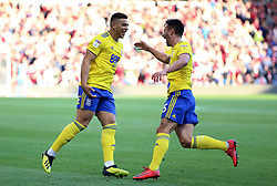 Birmingham City's Che Adams (left) celebrates scoring his side's second goal of the game with team-mate Maxime Colin