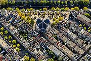 Nederland, Noord-Holland, Amsterdam, 27-09-2015; Jordaan met Noordermarkt en Noorderkerk. Prinsengracht boven in beeld, Lindengracht links.<br /> Northern Market square, Jordaan neigbourhood.<br /> <br /> luchtfoto (toeslag op standard tarieven);<br /> aerial photo (additional fee required);<br /> copyright foto/photo Siebe Swart
