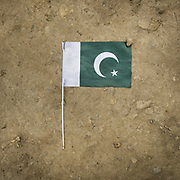 Pakistan flag on the floor during Pakistan independance day.