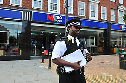 © Licensed to London News Pictures. 16/10/2018<br /> Bromley, UK.<br /> A 50 year old man has been arrested by police after trying to set him self on fire in the Metro Bank in Bromley High, Bromley. The bank has been closed and police are on scene with bank staff.<br /> Photo credit: Grant Falvey/LNP