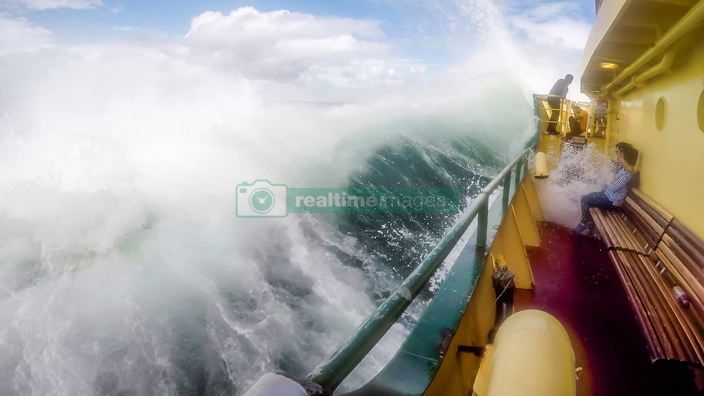 March 7, 2017 - Sydney, Australia - A series of photographs as tourists take a soaking on Sydney's iconic Manly Ferry sailing big swells near Sydney's North Head. The Weather Bureau warns of large and powerful surf conditions expected to be hazardous for coastal activities such as rock fishing, swimming and surfing. (Credit Image: © Hugh Peterswald/Pacific Press via ZUMA Wire)