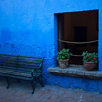 South America, Peru, Arequipa. Bench at Monasterio de Santa Catalina.