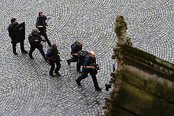 Armed police at the scene outside the Palace of Westminster, London, after policeman has been stabbed and his apparent attacker shot by officers in a major security incident at the Houses of Parliament.