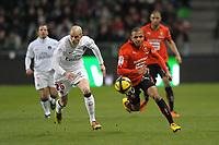 FOOTBALL - FRENCH CHAMPIONSHIP 2010/2011 - L1 - STADE RENNAIS v PARIS SAINT GERMAIN - 05/02/2011 - PHOTO PASCAL ALLEE / DPPI - YACINE BRAHIMI (RENNES) / CHRISTOPHE JALLET (PSG)