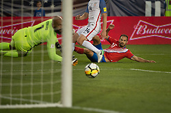 """September 1, 2017 - Harrison, New Jersey, U.S - Costa Rica forward MARCO URE""""A (21) watches as his goal gets past USMNT goalkeeper TIM HOWARD (1) while USMNT defender TIM REAM (14) looks during a World Cup qualifier match at Red Bull arena in Harrison, NJ.  Costa Rica defeats USA 2 to 0. (Credit Image: © Mark Smith via ZUMA Wire)"""