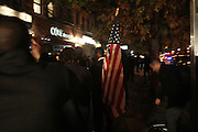 November 6, 2012- New York, NY:  Harlem, USA celebrates U.S President Barack Obama's Re-election as the 45th President of the United States. President Obama fought a closely contested political race in which he bested Republican Presidential candidate Mitt Romney for the U.S. Presidency. (Terrence Jennings) .