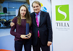 Lara Prosenjak and Marko Umberger, president of TZS at Tennis exhibition day and Slovenian Tennis personality of the year 2013 annual awards presented by Slovene Tennis Association TZS, on December 21, 2013 in BTC City, TC Millenium, Ljubljana, Slovenia.  Photo by Vid Ponikvar / Sportida