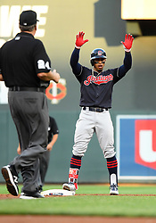 May 31, 2018 - Minneapolis, MN, U.S. - MINNEAPOLIS, MN - MAY 31: Cleveland Indians Shortstop Francisco Lindor (12) stands at second with a double in the top of the 2nd during a MLB game between the Minnesota Twins and Cleveland Indians on May 31, 2018 at Target Field in Minneapolis, MN. The Indians defeated the Twins 9-8.(Photo by Nick Wosika/Icon Sportswire) (Credit Image: © Nick Wosika/Icon SMI via ZUMA Press)