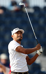 Japan's Satoshi Kodaira tees off the 3rd during day one of The Open Championship 2018 at Carnoustie Golf Links, Angus. PRESS ASSOCIATION Photo. Picture date: Thursday July 19, 2018. See PA story GOLF Open. Photo credit should read: David Davies/PA Wire. RESTRICTIONS: Editorial use only. No commercial use. Still image use only. The Open Championship logo and clear link to The Open website (TheOpen.com) to be included on website publishing.