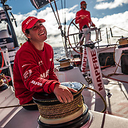 Leg 7 from Auckland to Itajai, day 19 on board MAPFRE,  Tamara Echegoyen at the winch and Blair Tuke at the helm, 05 April, 2018.