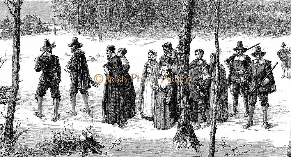 Pilgrim Fathers on their way to church.  Pilgrim Fathers, the Puritans who settled in Plymouth in 1620 and  founded the  first permanent colony in New England. Engraving after picture by GH Boughton. 19th century.