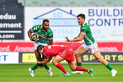 Iliesa Ratuva of Benetton Treviso is tackled by Dan Jones of Scarlets<br /> <br /> Photographer Craig Thomas/Replay Images<br /> <br /> Guinness PRO14 Round 3 - Scarlets v Benetton Treviso - Saturday 15th September 2018 - Parc Y Scarlets - Llanelli<br /> <br /> World Copyright © Replay Images . All rights reserved. info@replayimages.co.uk - http://replayimages.co.uk