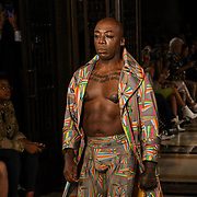 Designer Pam Hogg showcases is latest collection at Fashion Scout - SS19 at Freemasons Hall, London, UK. 14 September 2018.