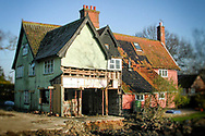 restoration building works on an old Suffolk longhouse in England, UK