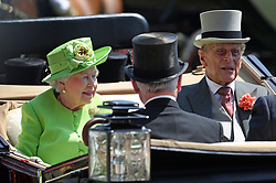 Queen Elizabeth II and Prince Philip during day one of Royal Ascot at Ascot Racecourse.