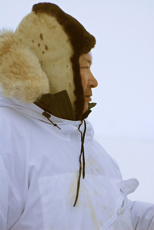 Alaska, Barrow. April 2007. Spring whaling. Aalak Crew (Eugene Brower Crew) on the ice. Captain Eugene Brower.