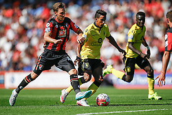 Scott Sinclair of Aston Villa under pressure from Dan Gosling of AFC Bournemouth - Mandatory by-line: Jason Brown/JMP - Mobile 07966 386802 08/08/2015 - FOOTBALL - Bournemouth, Vitality Stadium - AFC Bournemouth v Aston Villa - Barclays Premier League - Season opener