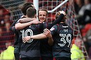 Tommy Rowe of Doncaster Rovers celebrates with teammates after scoring  his teams 1st goal. EFL Skybet Football League two match, Leyton Orient v Doncaster Rovers at the Matchroom Stadium, Brisbane Road in Leyton, London on Saturday 18th March 2017.<br /> pic by Steffan Bowen, Andrew Orchard sports photography.
