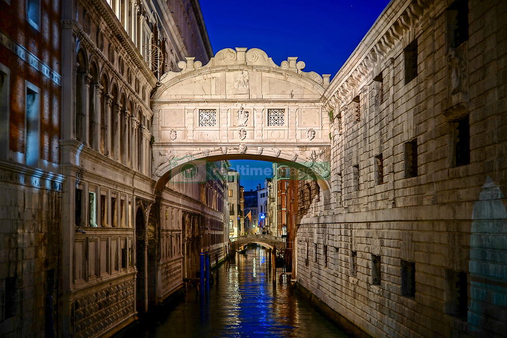 The Bridge of Sighs at night in Venice. From a series of travel photos in Italy. Photo date: Monday, February 11, 2019. Photo credit should read: Richard Gray/EMPICS