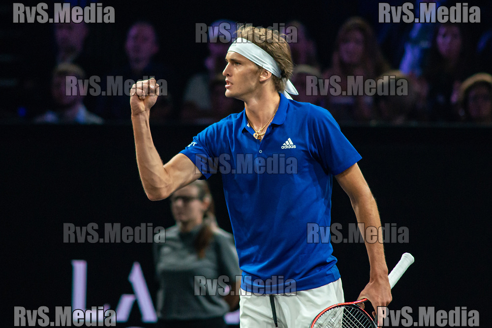 GENEVA, SWITZERLAND - SEPTEMBER 21: Alexander Zverev of Team Europe reacts after a point during Day 2 of the Laver Cup 2019 at Palexpo on September 21, 2019 in Geneva, Switzerland. The Laver Cup will see six players from the rest of the World competing against their counterparts from Europe. Team World is captained by John McEnroe and Team Europe is captained by Bjorn Borg. The tournament runs from September 20-22. (Photo by Monika Majer/RvS.Media)