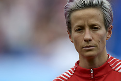 June 28, 2019 - Paris, France - Megan Rapinoe (Reign FC) of United States during the national anthem before the 2019 FIFA Women's World Cup France Quarter Final match between France and USA at Parc des Princes on June 28, 2019 in Paris, France. (Credit Image: © Jose Breton/NurPhoto via ZUMA Press)
