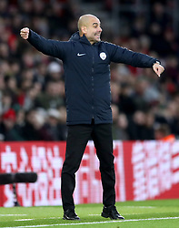 Manchester City manager Pep Guardiola gestures on the touchline during the Premier League match at St Mary's Stadium, Southampton.