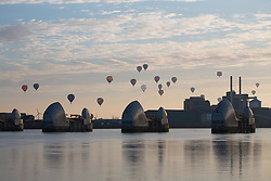 September 10, 2017 - London, London, UK - London, UK. Over 30 hot air balloons have lifted off in London for the City of London's Lord Mayor's Hot Air Balloon Regatta. Now in it's third year, the fund raising regatta took from City Airport to mark its 30th birthday this year. The flotilla of balloons set off at 7am and drifted north east towards East London and Essex. (Credit Image: © Rob Powell/London News Pictures via ZUMA Wire)