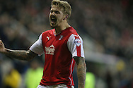 Rotherham United midfielder Danny Ward (9) scores to make it 1-0 and celebrates during the Sky Bet Championship match between Rotherham United and Brighton and Hove Albion at the New York Stadium, Rotherham, England on 12 January 2016.