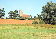 View over fields to All Saints church, Ramsholt Suffolk, England