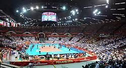 06.09.2014, Spodek, Katowice, POL, FIVT WM, Finnland vs Deutschland, Gruppe B, im Bild HALA SPODEK WIDOK Z GORY TRYBUNY KIBICE // during the FIVB Volleyball Men's World Championships Pool B Match beween Finland and Germany at the Spodek in Katowice, Poland on 2014/09/06.<br /> <br /> ***NETHERLANDS ONLY***