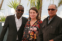 Directors Mahamat-Saleh Haroun, Noemie Lvovsky, Abbas Kiarostami, at the photo call for the Cinéfondation at the 67th Cannes Film Festival, Thursday 22nd May 2014, Cannes, France.