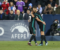 January 18, 2018 - Leganes, Spain - Marco Asensio (R) and Lucas Vazquez of Real Madrid celebrates after scoring the opening goal during the Spanish Copa del Rey, Quarter Final, First Leg match between Leganes and Real Madrid at Estadio Municipal de Butarque on January 18, 2018 in Leganes, Spain. (Credit Image: © Raddad Jebarah/NurPhoto via ZUMA Press)