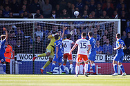 The closest Blackpool came in the first half when they hit the bar during the EFL Sky Bet League 1 match between Peterborough United and Blackpool at The Abax Stadium, Peterborough, England on 29 September 2018.