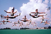 National Champion Cheerleaders from Franklin High in Murrysville, Pennsylvania, a suburb of Pittsburgh, PA..  They are practicing at a cheerleading camp at Pennsylvania State University.