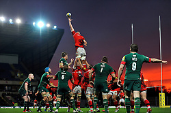 James Down of London Welsh rises high to win lineout ball - Photo mandatory by-line: Patrick Khachfe/JMP - Mobile: 07966 386802 23/11/2014 - SPORT - RUGBY UNION - Oxford - Kassam Stadium - London Welsh v Leicester Tigers - Aviva Premiership