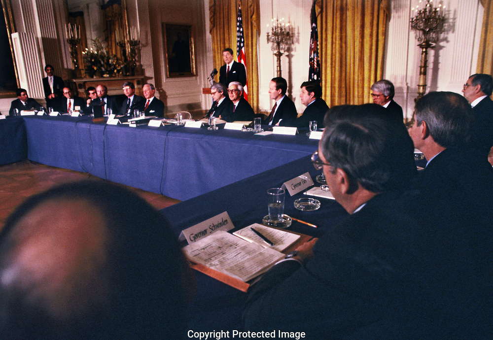 Washington, DC 1985/03/01 President Ronald Reagan talks to state governors in the state dining room of the White House.<br /><br />Photo by Dennis Brack