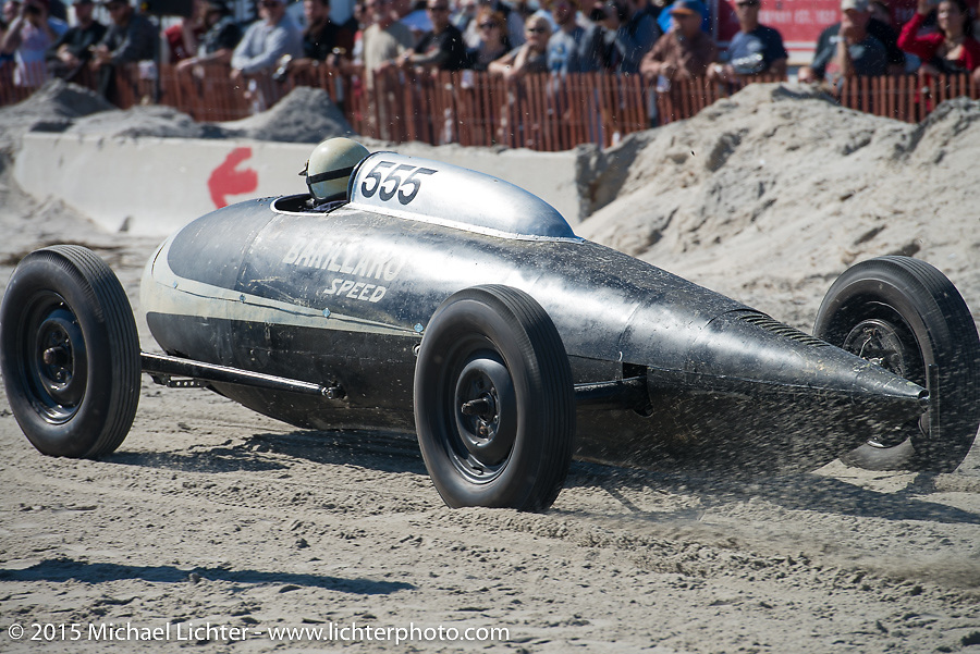 Mike Barillaro rides in the custom body of a royal jet wing tank that was built on a 27 Ford frame at the Race of Gentlemen. Wildwood, NJ, USA. October 11, 2015.  Photography ©2015 Michael Lichter.
