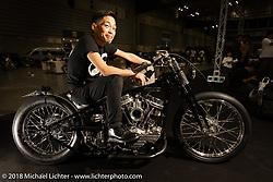 Katie's Customs' Katsuya Tasaki on his latest custom, a 1956 rigid Harley-Davidson Panhead at the 27th Annual Mooneyes Yokohama Hot Rod Custom Show 2018. Yokohama, Japan. Sunday, December 2, 2018. Photography ©2018 Michael Lichter.