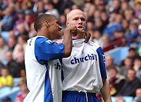 Credit: Back Page Images. Aston Villa v Crystal Palace, FA Premiership, 25/09/2004. Andrew Johnson (right) celebrates putting Crystal Palace 1-0 ahead with Wayne Routledge.