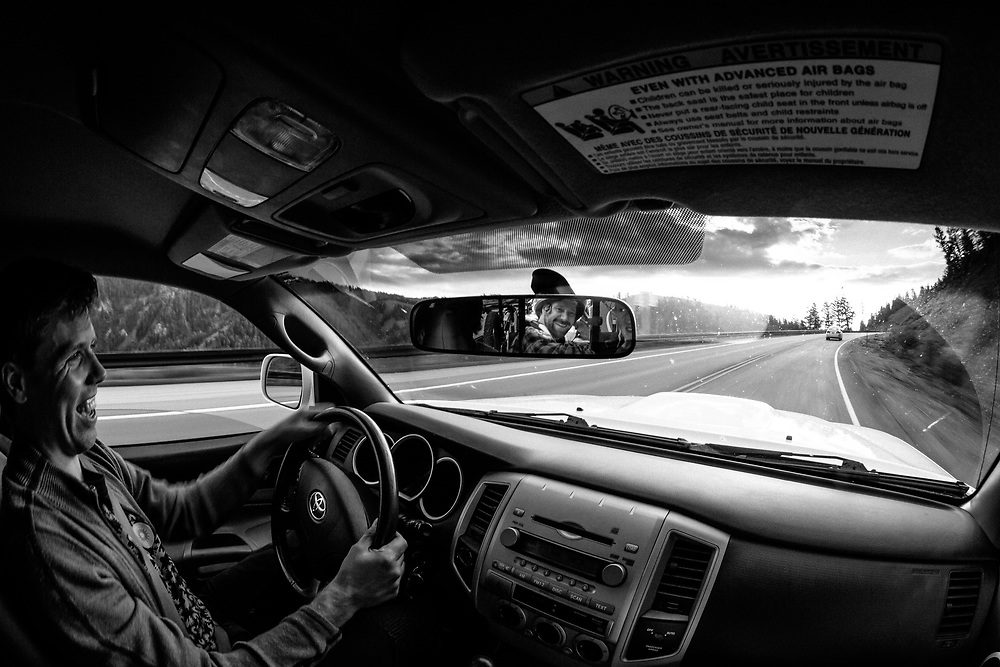 Aaron G drives Andrew Whiteford, Kyle Dowman, Rob LaPier, and Jay Goodrich to the top of Teton Pass to ride Fuzzy Bunny.